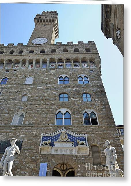 Palazzo Vecchio With Statues Greeting Card by Sami Sarkis