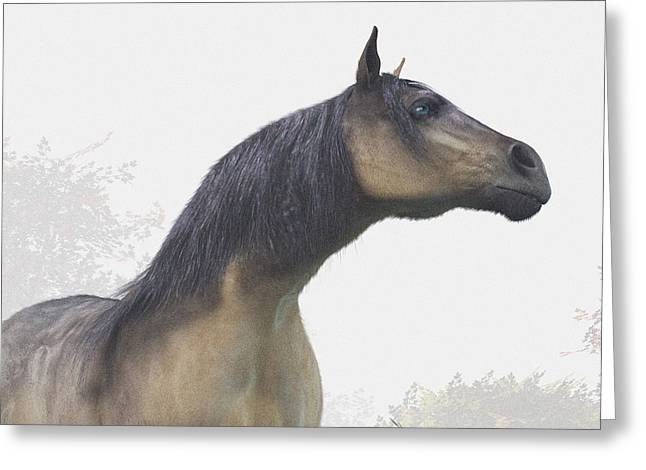 Wild Horse Digital Art Greeting Cards - Pale Blue-Eyed Horse Greeting Card by Daniel Eskridge