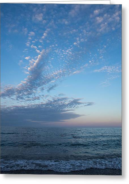 Ocean Vista Greeting Cards - Pale Blues and Feathery Clouds in the Fading Light Greeting Card by Georgia Mizuleva