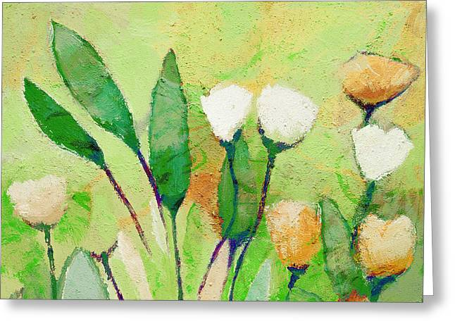 Painted Flowers Greeting Cards - Pale Green Floral Greeting Card by Lutz Baar