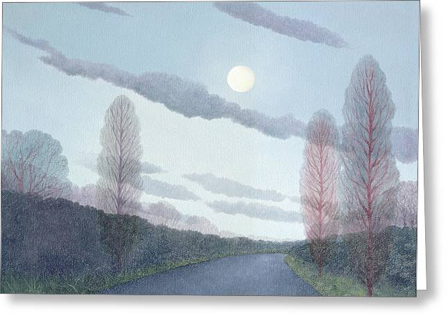 Winter Night Greeting Cards - Pale Moon, 2002 Oil On Canvas Greeting Card by Ann Brain