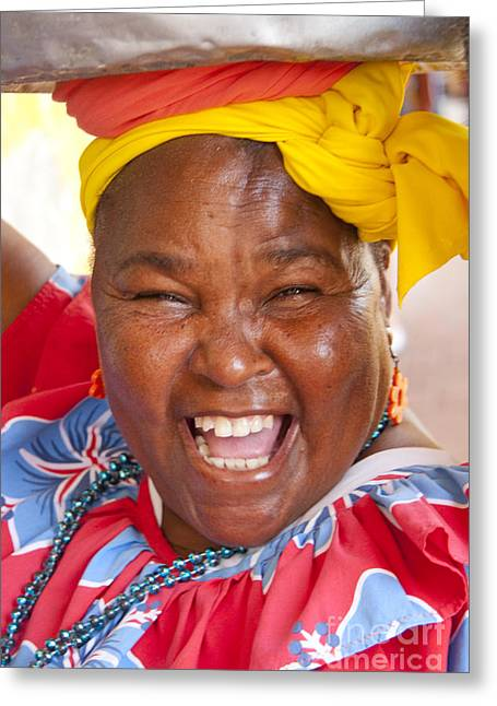 Colombia Greeting Cards - Palenquera in Cartagena Colombia Greeting Card by David Smith