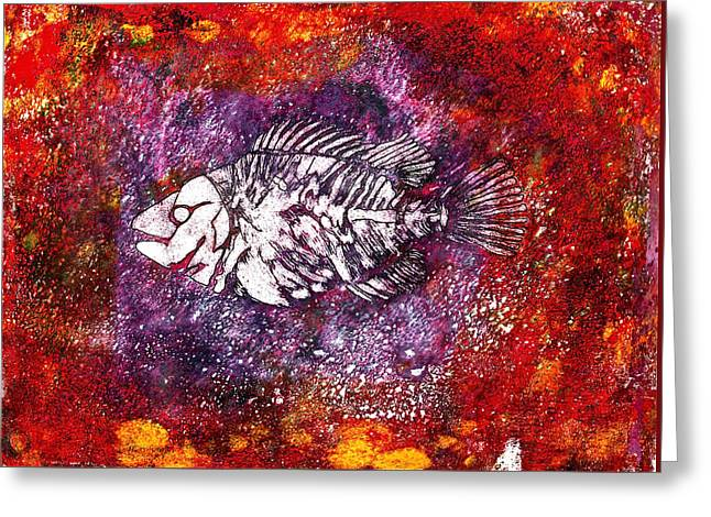 Goldfish Mixed Media Greeting Cards - Paleo Fish Greeting Card by Bellesouth Studio