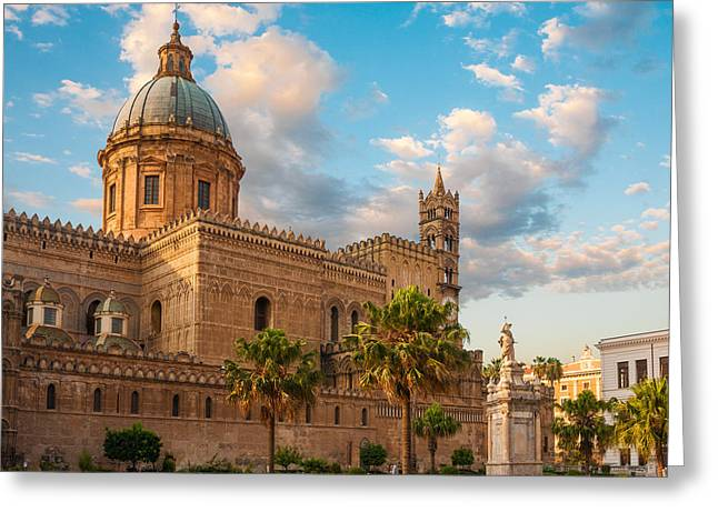 Medieval Temple Greeting Cards - Palermo cathedral Greeting Card by Gurgen Bakhshetsyan