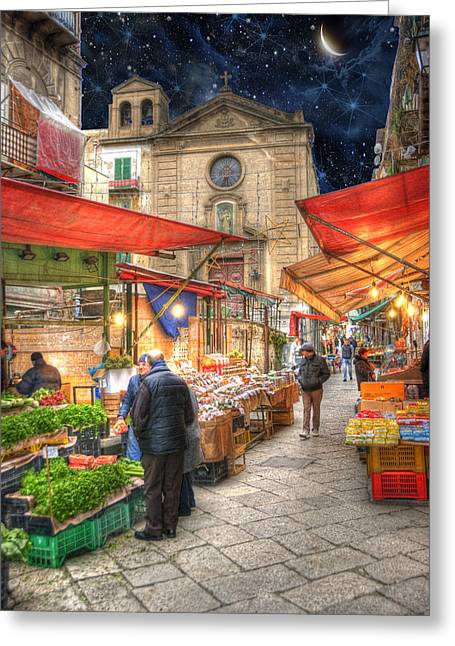 Tourists Greeting Cards - Palermo Market Place Greeting Card by Juli Scalzi