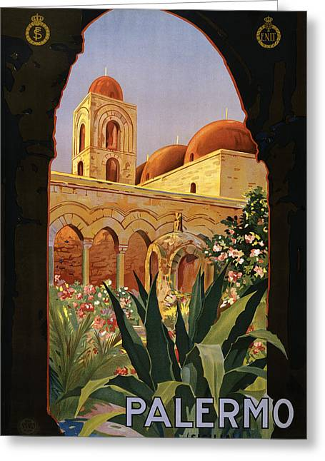 Old Town Digital Art Greeting Cards - Palermo Sicily Italy Greeting Card by Nomad Art And  Design