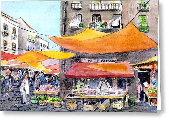 Italian Market Paintings Greeting Cards - Palermo Vuccerria Greeting Card by Kathleen  Gwinnett