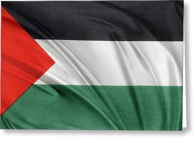Textile Photographs Photographs Greeting Cards - Palestine flag Greeting Card by Les Cunliffe