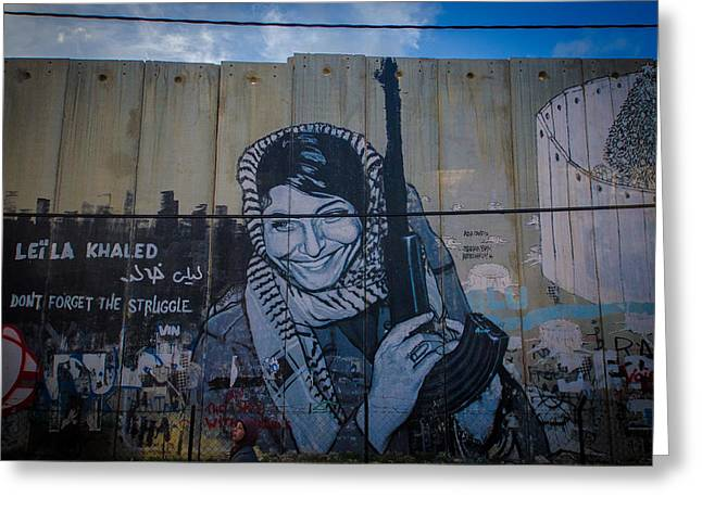 Unrest Greeting Cards - Palestinian Graffiti Greeting Card by David Morefield
