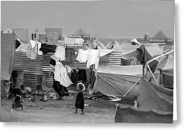 Refugee Greeting Cards - Palestinian Refugee Camp Greeting Card by Munir Alawi
