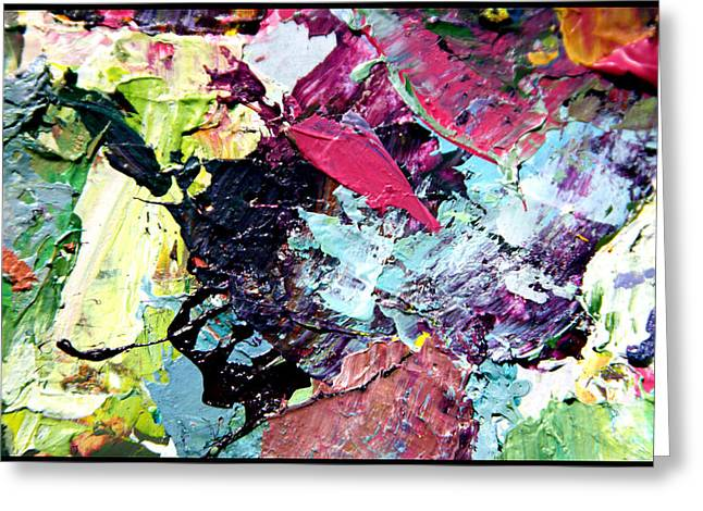 Abstractions Paintings Greeting Cards - Palette Abstraction #12 Greeting Card by John Lautermilch