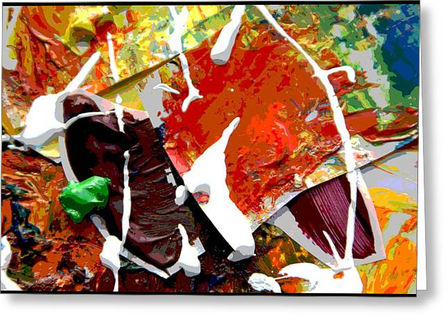 Abstraction Paintings Greeting Cards - Palette Abstraction #7 Greeting Card by John Lautermilch