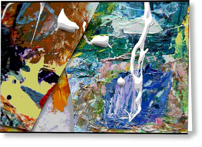 Abstraction Paintings Greeting Cards - Palette Abstraction #8 Greeting Card by John Lautermilch