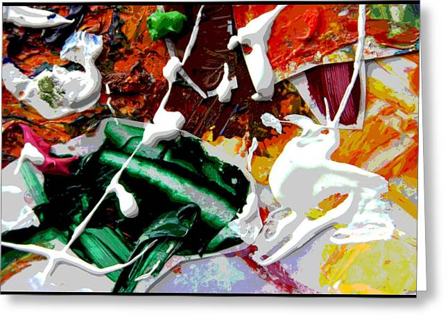 Abstraction Paintings Greeting Cards - Palette Abstraction #9 Greeting Card by John Lautermilch