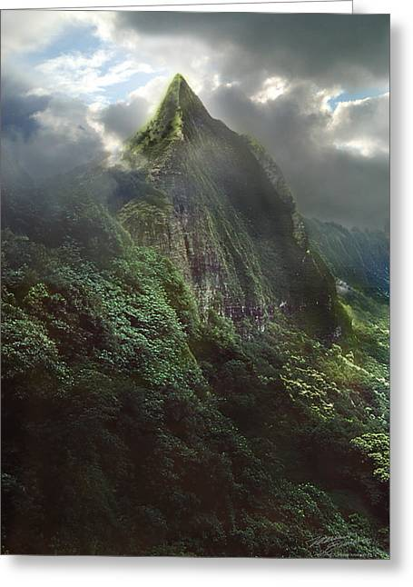Spa work Mixed Media Greeting Cards - Pali Peak Hawaii circa 1983 Greeting Card by Maria Eames