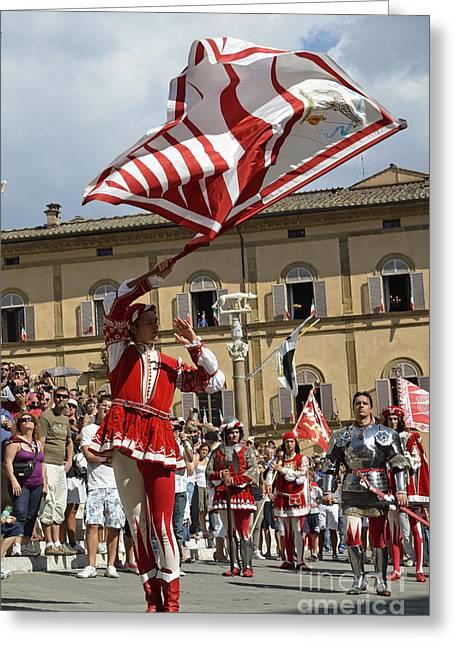 Palio Parade On Piazza Del Duomo Greeting Card by Sami Sarkis