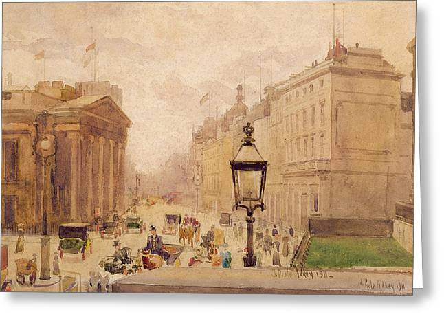 Edwardian Greeting Cards - Pall Mall From The National Gallery Greeting Card by Joseph Poole Addey