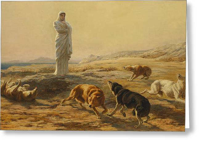 Pallas Athena And The Herdsmans Dogs Greeting Card by Briton Riviere