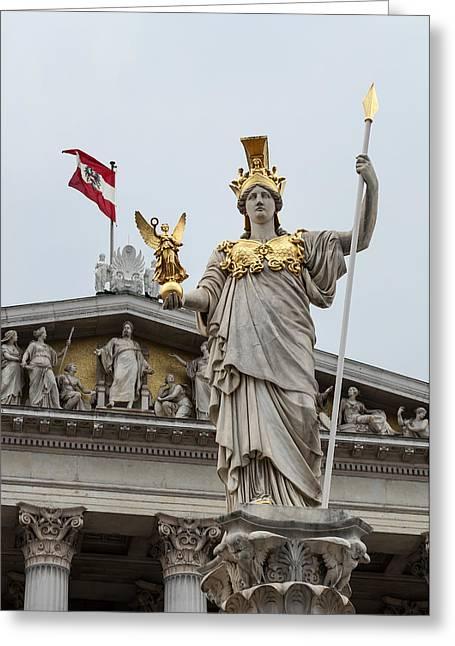 Nike Photographs Greeting Cards - Pallas Athena. Austrian Parliament building. Greeting Card by Fernando Barozza