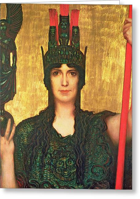 Pallas Athena Greeting Card by Franz Von Stuck