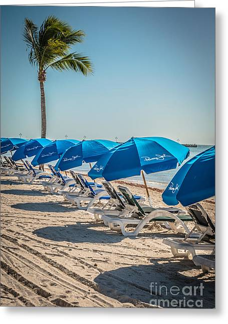 Liberal Greeting Cards - Palm and Beach Umbrellas - Higgs Beach - Key West  Greeting Card by Ian Monk