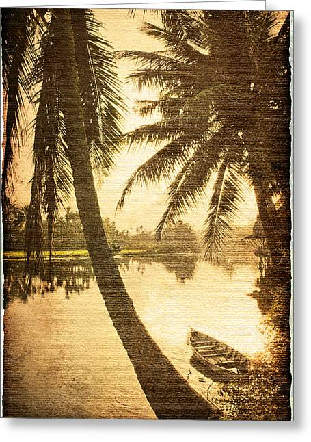 Recently Sold -  - Reflection In Water Greeting Cards - Palm and Boat Greeting Card by Skip Nall