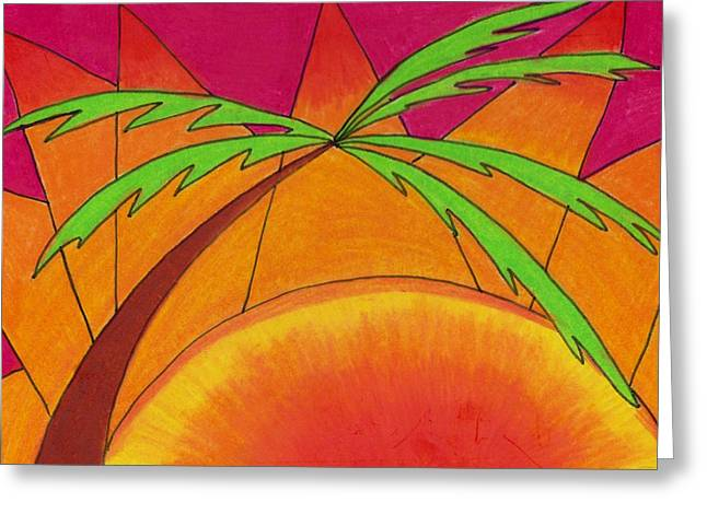 Palm Trees Greeting Cards - Palm at Sunset Greeting Card by Geree McDermott