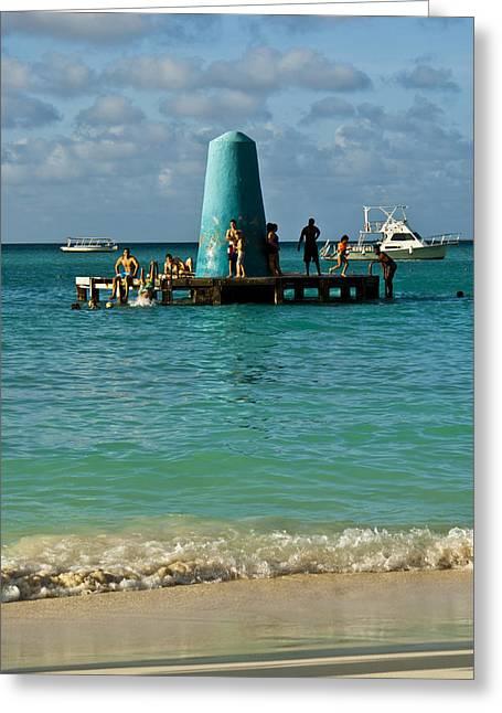 Ocean Floats Greeting Cards - Palm Beach Dock Greeting Card by Ryan Burton