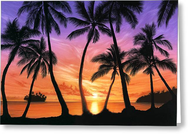 80s Greeting Cards - Palm Beach Sundown Greeting Card by Andrew Farley