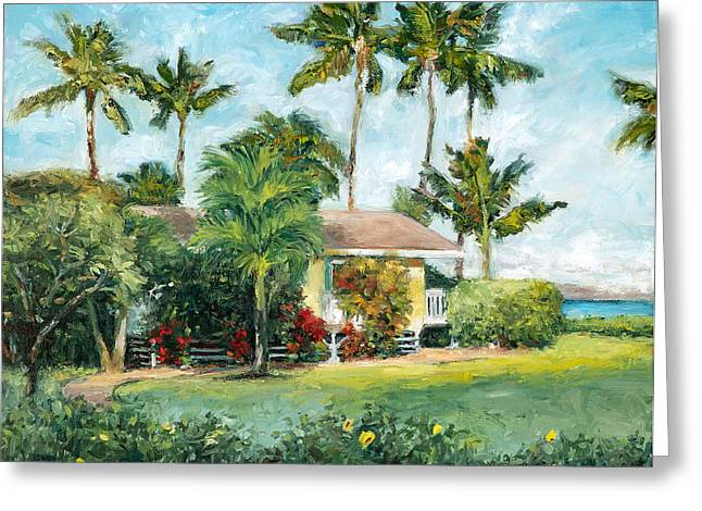 Stacy Vosberg Greeting Cards - Palm Cottage Greeting Card by Stacy Vosberg