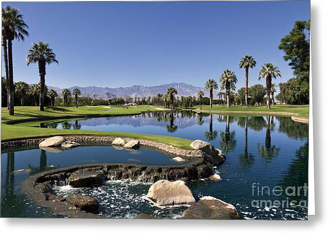 Desert Lake Greeting Cards - Palm Desert Golf Course Landscape Greeting Card by Sheldon Kralstein