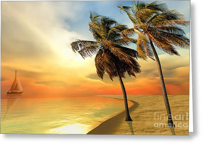 Sailboat Images Greeting Cards - Palm Island Greeting Card by Corey Ford