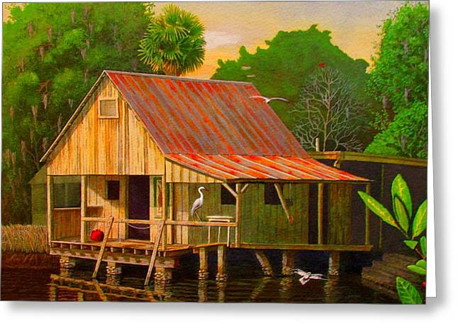 Palm Island Crab House  Greeting Card by Buzz Coe