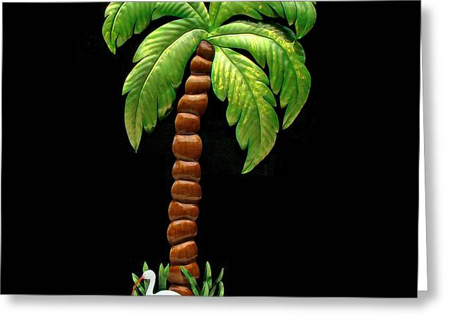 Stainless Sculptures Greeting Cards - Palm Island Greeting Card by Diane Snider