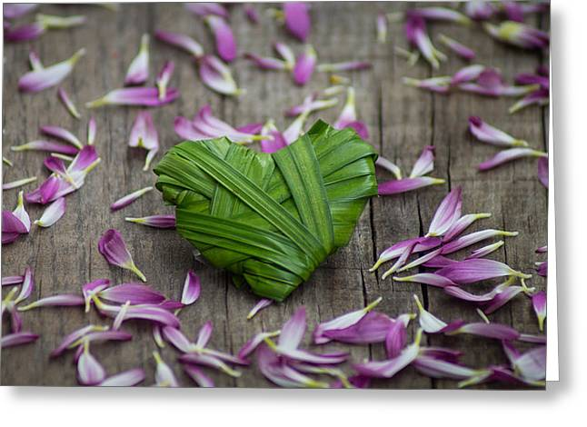Invitation Greeting Cards - Palm Leaf heart Greeting Card by Aged Pixel