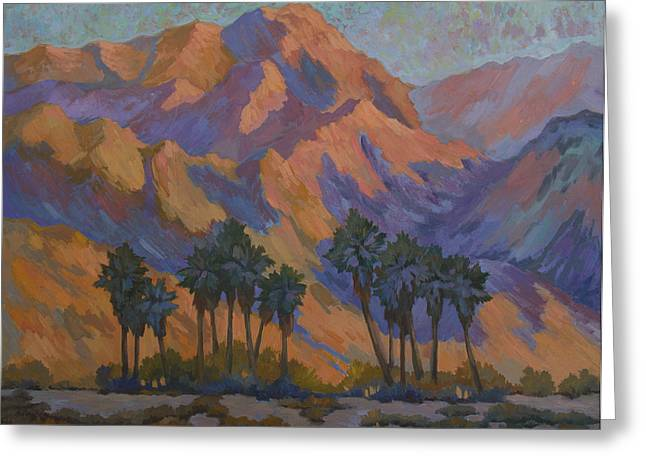Hiking Paintings Greeting Cards - Palm Oasis at La Quinta Cove Greeting Card by Diane McClary