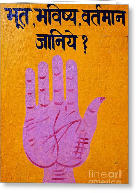 Palmistry Greeting Cards - Palm reading sign in Rishikesh Greeting Card by Robert Preston