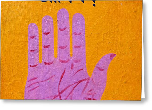 Palm reading sign in Rishikesh Greeting Card by Robert Preston