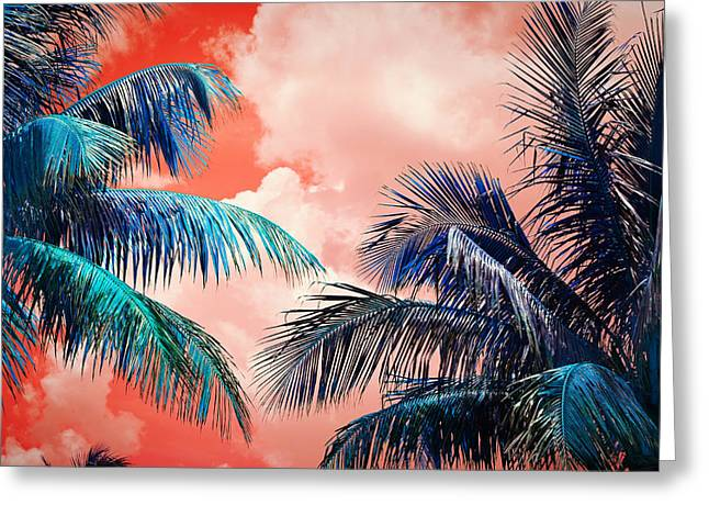 Palmscape Red Greeting Card by Laura Fasulo