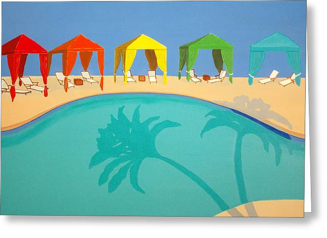 Recently Sold -  - Lounge Paintings Greeting Cards - Palm Shadow Cabanas Greeting Card by Karyn Robinson