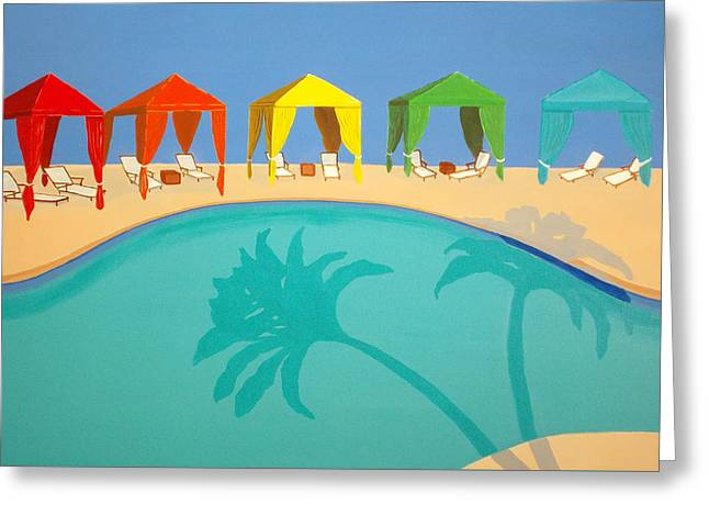 Lounge Paintings Greeting Cards - Palm Shadow Cabanas Greeting Card by Karyn Robinson