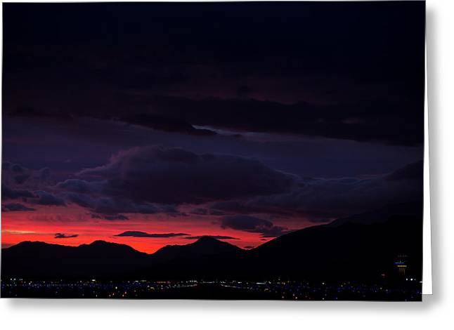 Traffic Control Greeting Cards - Palm Springs Airport Sunrise  Greeting Card by John Daly