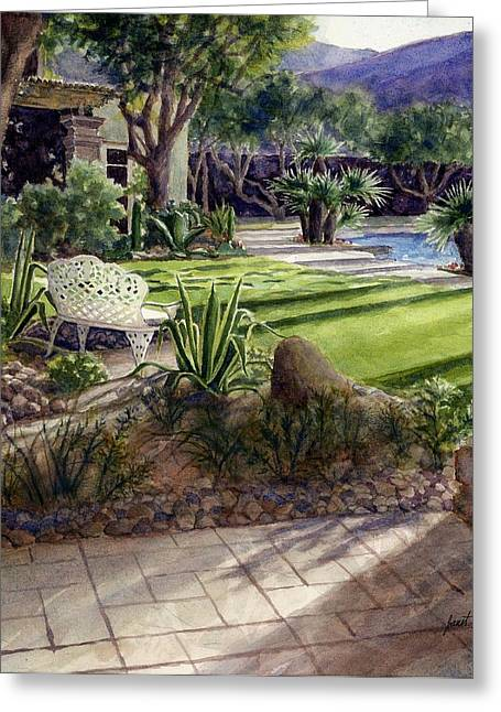 Janet King Paintings Greeting Cards - Palm Springs backyard Greeting Card by Janet King