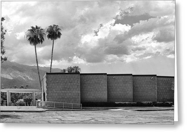 Palm Springs City Hall Bw Palm Springs Greeting Card by William Dey