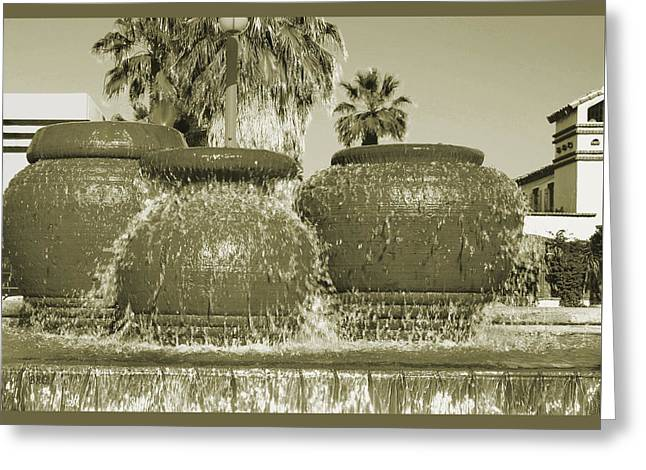 Water Jug Photographs Greeting Cards - Palm Springs Fountain Greeting Card by Ben and Raisa Gertsberg