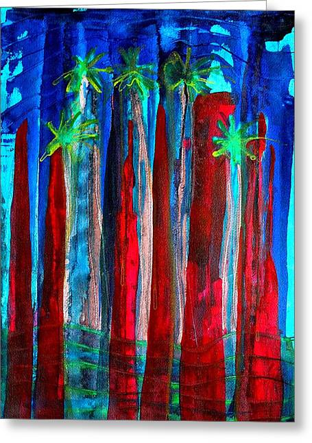 Pen And Paper Greeting Cards - Palm Springs Nocturne original painting Greeting Card by Sol Luckman