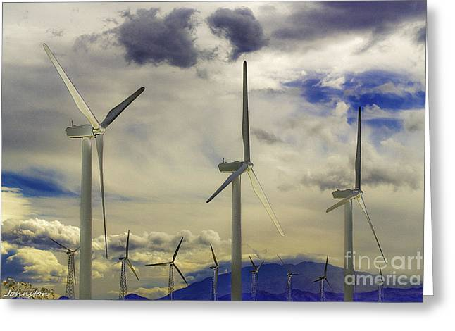 Generators Greeting Cards - Palm Springs Wind Generators Greeting Card by  Bob and Nadine Johnston