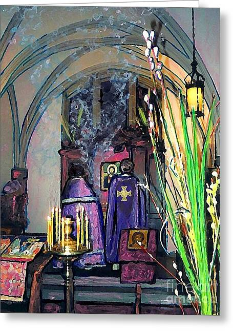 Chapel Mixed Media Greeting Cards - Palm Sunday Liturgy Greeting Card by Sarah Loft