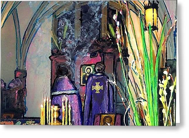 Palm Sunday Liturgy Greeting Card by Sarah Loft