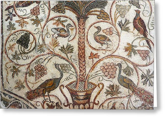 Byzantine Greeting Cards - Palm tree and birds Greeting Card by Paul Fell
